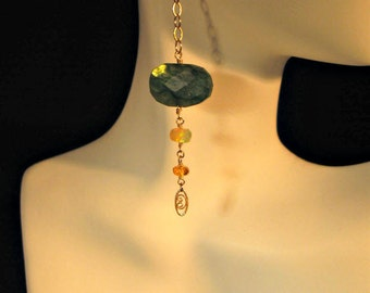 Green labradorite earrings,fire opal earrings,labradorite earrings,dangle earrings,drop earrings,gemstone earrings,labradorite,opal,earrings
