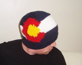 Colorado Flag knit hat in blue red white yellow