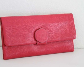 Genuine Leather Clutch Wallet with super Cute leather tab closure :)
