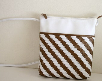 Handcrafted Genuine Leather Side Bag, Crossbody, Woven Leather, Rare