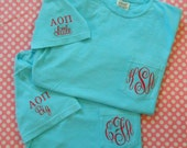 Monogrammed Comfort Colors Adult  Short Sleeve Pocket  Shirt with Greek letters and  Big or Little monogrammed on sleeve