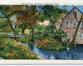 Old Mill Sandwich Cape Cod Massachusetts 1937 postcard