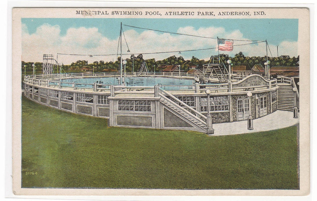 Swimming Pool Athletic Park Anderson Indiana By Thepostcarddepot