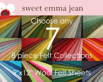 Choose any 7 eight piece Felt Collections - High Quality Wool Felt Assortments