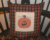 UNSTUFFED Fall Pillow Primitive Pumpkin Decoration Autumn Harvest Painted Handmade Country Home Decor Prim Plaid Seasonal Prim wvluckygirl
