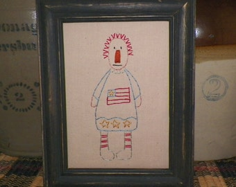 UNFRAMED Raggedy Ann Doll Primitive Stitchery 5x7 Picture Stitched Americana Flag Patriotic Embroidery Country Home Deccoration wvluckygirl