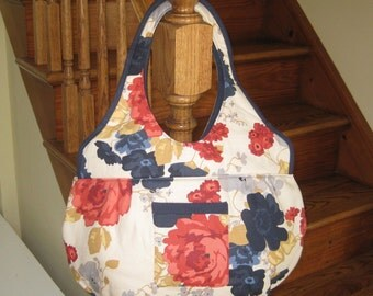 Large Tote Bag. Large Book Bag. Large Beach Bag. Large Shoulder Bag in Tan with Large Coral and Blue Flowers