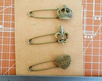 Crown,  Heart,  Fleur de Lis Safety Pins Scrapbook Embellishment Fastener
