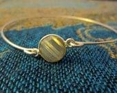 Tiny Labradorite Gemstone Sterling Silver Bangle Bracelet 8 inches