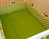 Fitted Crib Sheet--Apple Green Cotton--MADE TO ORDER