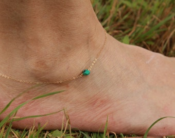 Genuine Turquoise Anklet, Gold Filled, Sterling Silver, Delicate Chain Anklet,Turquoise Ankle Bracelet, Single Natural Turquoise, Minimalist