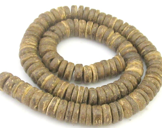 1 Full Strand - 15 inches Natural brown rondelle heishi donut coconut beads 10 mm size - NB131