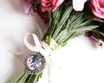 Photo Charm, Bouquet Charm, Wedding Bouquet Photo Charm, Memorial Photo Charm, Photo Frame Charm, Round Photo Charm, Bouquet Photo Jewelry