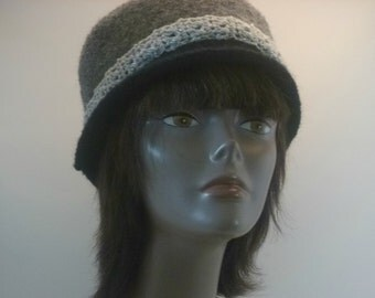 Felted Hats Collection-Xtra Special Gray Felted Wool Hat With Crocheted Silver Band