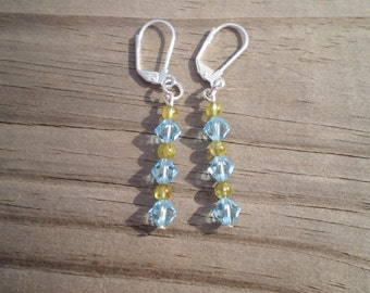 Peridot and Swarovski Crystal Bicone Dangle Earrings