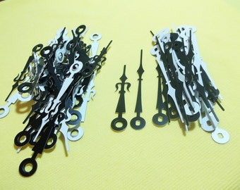 25 Pairs New Black/White Fancy Sword Clock Hands (No24) For Scrapbooking, Steampunk, Embellishment