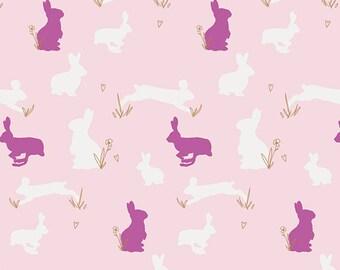 "LAST PIECE Art Gallery Fabric's Anna Elise -Bunny Binkies (Fluff Metallic) 30"""