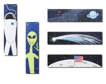 Hand Painted Handle - Children's Custom Outer Space Cabinet or Drawer Pulls for Kids in ANY Size