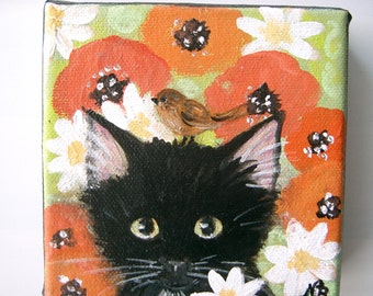 Original Painting Black Kitten Cat with litte Bird Sparrow Poppy Naive Folk Art