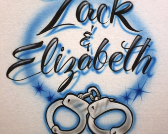 Airbrush Handcuffs Shirt with Couples Name and Date size S M L XL 2XL Airbrushed T-Shirt