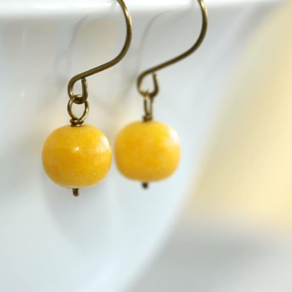 Yellow Limestone Earrings - 'Farmer's Market'