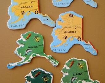 ALASKA Vintage puzzle pieces- set of 6