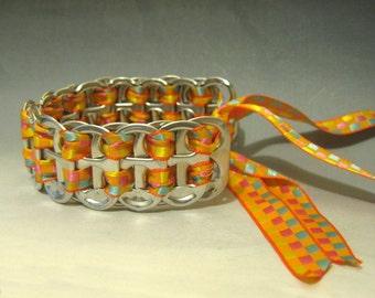 Recycled Soda Pop Can Tab Bracelet Orange Checkered Ribbon