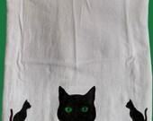 Black Cats Flour Sack Kitchen Tea Towel by SBMathieu