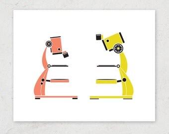 "Microscope Duo ""Microcrush"" Art Print - Science Art Print"
