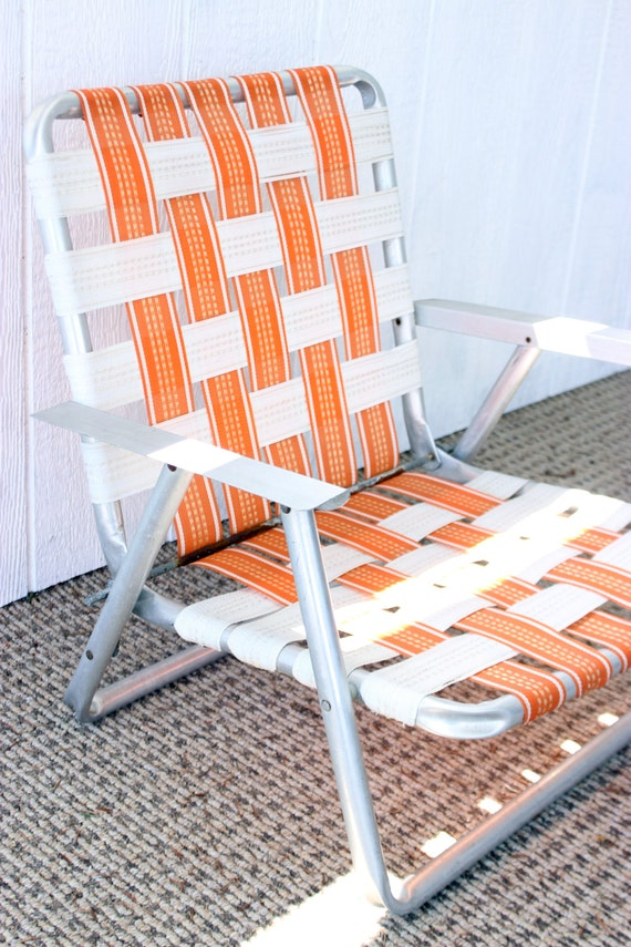 Vintage Aluminum Webbed Folding Beach Chair Orange White Stripes