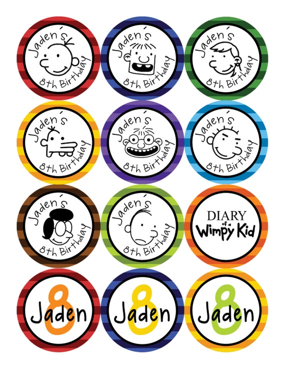 Diary Of A Wimpy Kid Cupcake Toppers