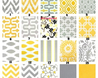 Yellow Gray Pillow Covers, Decorative Throw Pillows, Cushion Covers, Storm Grey Corn Yellow White, Couch,  Mix & Match Set of Two 18 x 18