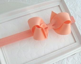 Peach headband with 3 inch Bow, Peach Hair Bow Headband for Newborns, Infants, Babies, Girls ~ Baby Girl Peach Bow Headband