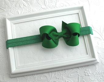 "Emerald Green Baby Headband, Baby Christmas Bow, Baby Headband, 3"" Green Bow, Bow Headband"