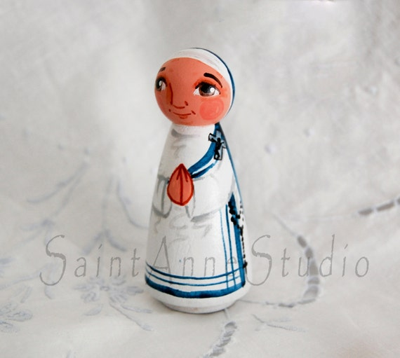Blessed Mother Teresa Doll - Catholic Saint Peg Doll - Wooden Toy - Made to Order