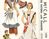 Vintage 50s Apron Pattern - Uncut McCalls 1578 - Misses' Bib  Apron with Flower Pot Pocket - One Size Pattern