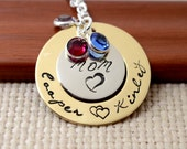Mother's Personalized Brass Washer Necklace, Mom Gift, Hand Stamped Jewelry, Custom Necklace, Mom, Mommy, Mother