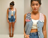 sale... American Flag Vest  // 80s Denim Vest  //  STARS and STRIPES