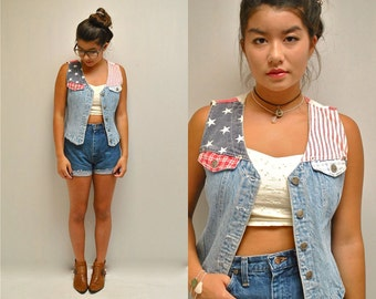 American Flag Vest  // 80s Denim Vest  //  STARS and STRIPES