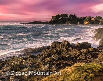 Depoe Bay Sunset art for wall.  Seascape wall art or wall art from still photography.  Fine art print for home decor or wall art.