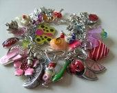 Girls childrens jewellery Loaded  charm Bracelet  heart ladybird butterfly by NewellsJewels on etsy