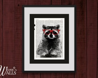 Raccoon in Red Glasses - Dictionary Art Print, Raccoon Print, Animal Art, Upcycled Book Page, Smarty Pants Raccoon, Birthday Gift, Rustic