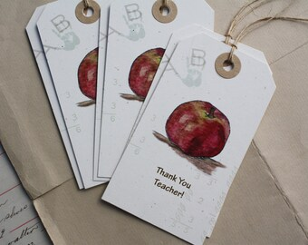 Teacher and Apple Gift Tags, 6, Thank You Teacher, Recycled Paper, Set of 6, Large Tags