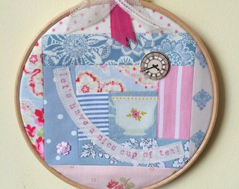 Handmade Patchwork Hoop - Nice Cup of Tea