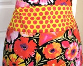 Women's Three Pocket Half Apron  - Teacher Apron - Floral Apron - Crafter Apron - Gardening Apron - Vendor Apron -  Orange Apron