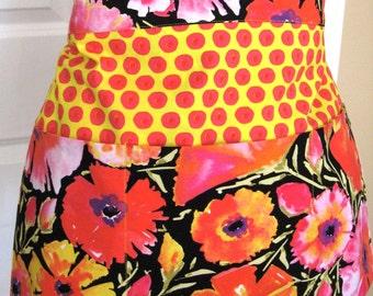 Women's Three Pocket Half Apron  - Teacher Apron - Floral Apron - Crafter Apron - Gardening Apron - Vendor Apron -  Orange Apron