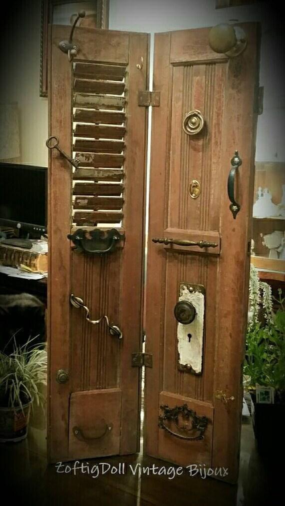 Antique Vintage Shutter Organizer With Old Hardware Brass Door