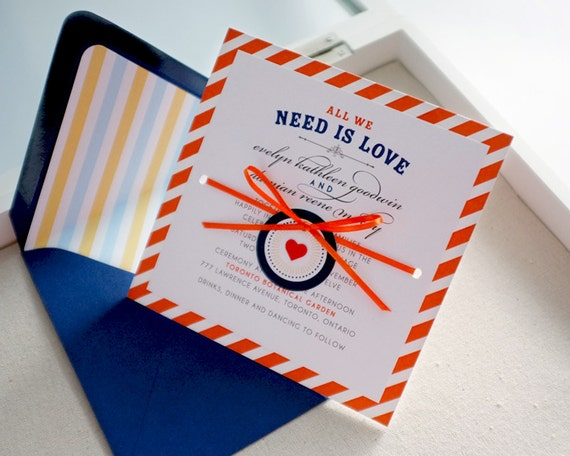 Cross My Heart: Orange stripes eco wedding invitation, hand-tie ribbon with mini heart tag, unique, fancy, colorful