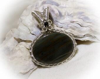 Silver Wire Wrapped Stone Pendant Owyhee Jasper