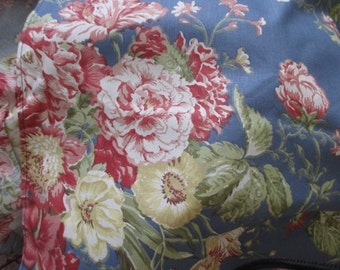 Waverly Garden Room full BED SKIRT - cotton, shabby chic, flowers, pink, blue